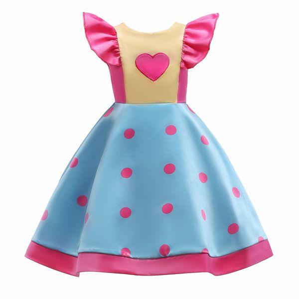 Kids Girl Dress Wave Point Printing In Will Child Full Dress Small Flying Sleeve Bow Children's Girls Dresses