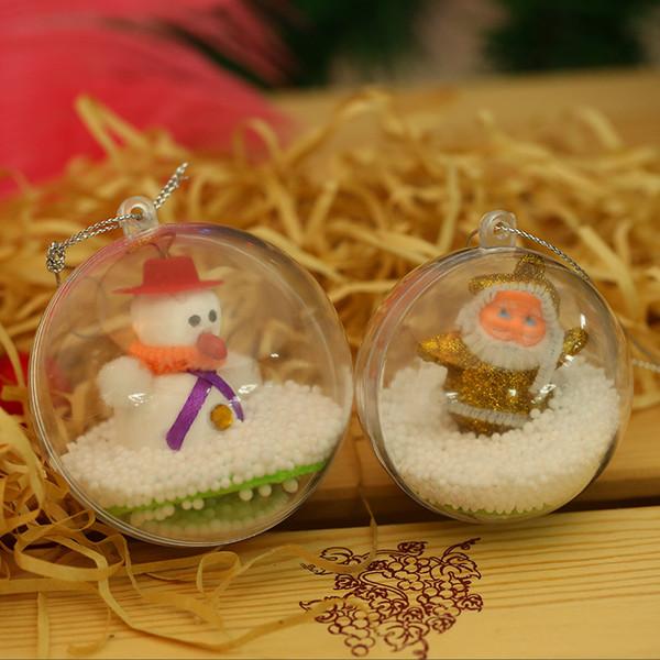 75pcs 4/5cm Transparent Plastic Round Ball Pendant Ornaments For Christmas Xmas Tree Bauble Decor Wedding Favours