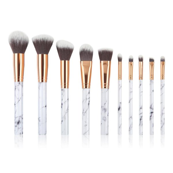 gemtotal marble makeup brushes set 10-pieces foundation concealer contour kabuki blush lip eyeshadow synthetic hair (white