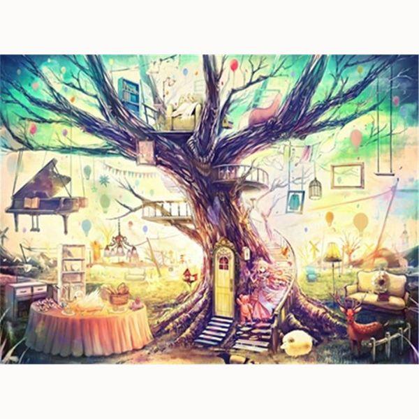 5D Diy diamond painting, diamond embroidery, home decoration, mosaic, rhinestone painting, landscape, magic house, big tree, cartoon