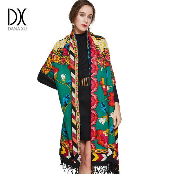 X 2017 Luxe Marque Grand Pashmina Foulards et Châles Chaud Écharpe Femmes  Musulman Hijab Cachemire Poncho 9cc5b175934
