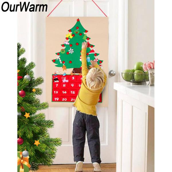 wholesale Christmas Advent Calendar DIY Felt Xmas Tree Countdown Calendar Door Wall Hanging Ornaments New Year Christmas Decor