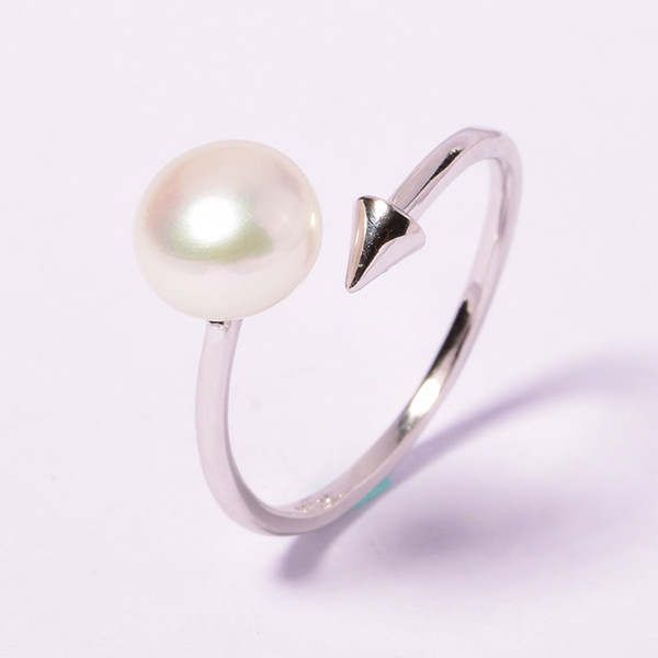 925 sterling silver jewelry ring For Women Pearl jewelry 2018 Fashion 100% natural 7-8 mm Freshwater pearl rings gift