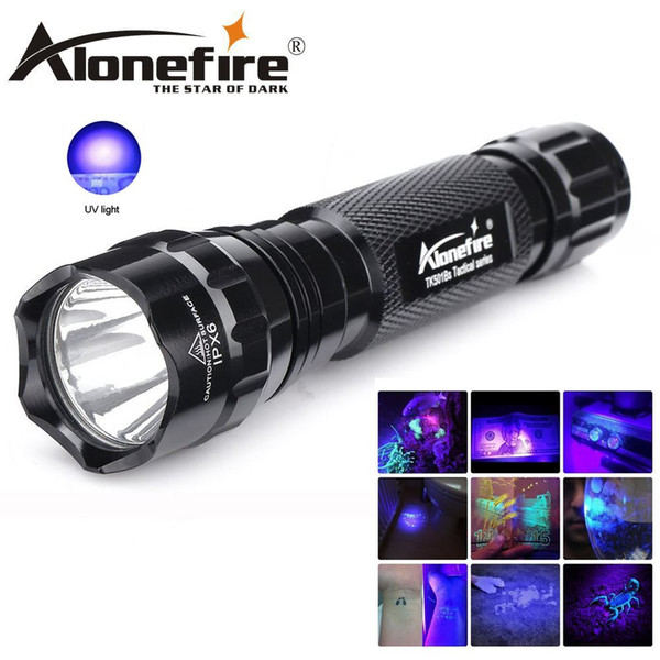 Alonefire 501Bs 395nm Uv Led Flashlight Led Ultra Violet Light Torch Lamp Black Light Detector Dog Urine Pet Spots and Bed Bug for 1x 18650