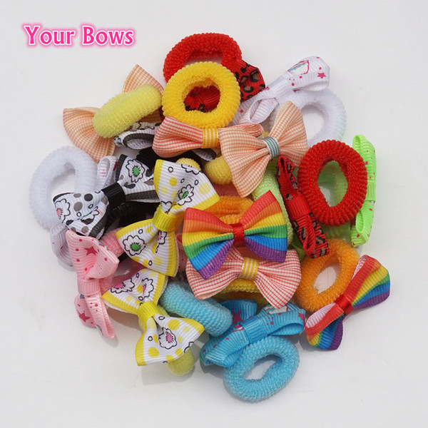 Your Bows 10Pairs Solid Print Bow Elastic Hair Ropes Kids Elastic Hair Bands Mini Ponytail Holder Accessories Wholesale
