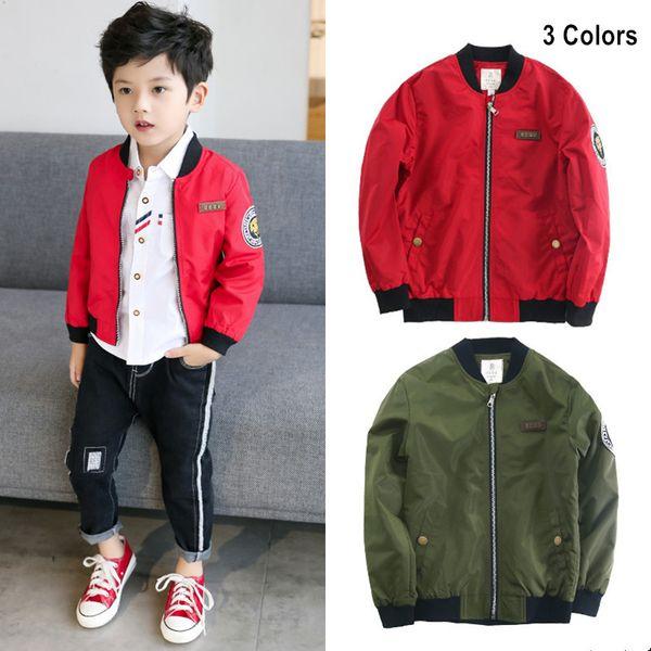 Autunno nuovo arrivo ragazzi giacca da baseball bomber abbigliamento bambini casuali patch rosso cappotto cerniera in metallo outwear bambino vestiti