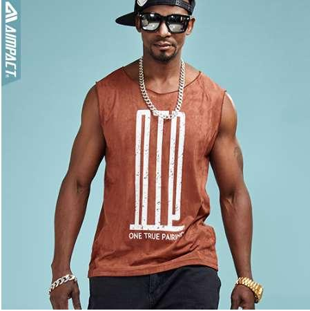 Aimpact Fashion Suede Tank Top Men Hip Hop Soft Comforty OTP Sleeveless tShirts Sexy Male Brand Clothing Activewear Tees AM1029