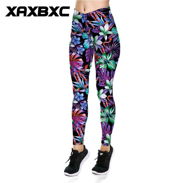 XAXBXC 039 Seksi Kız Ince Pantolon Yeni Tropikal Bitki Jungle Yılan Baskılar V Yüksek Bel Elastik Egzersiz Spor Ince Kadın Tayt