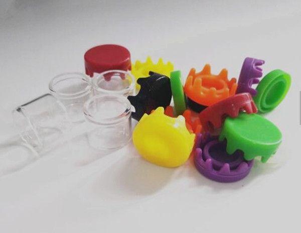 piccoli contenitori di vetro mini concentrato senza collo 6ml verde giallo nero silicio coperchio del barattolo di vetro per olio di vape stampa olio logo personalizzato