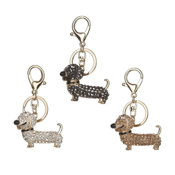 Cute Puppy Dog Charm Fashion Keychain Sparkling Crystal Unique Gift and Souvenir Hanging Keys or Automobile Pendants Car Styling
