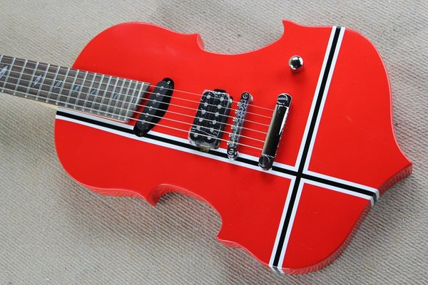 Red Unusual Shape Electric Guitar with Black and White Stripe Pattern,Violin Style Body,27 Frets,offering customized services
