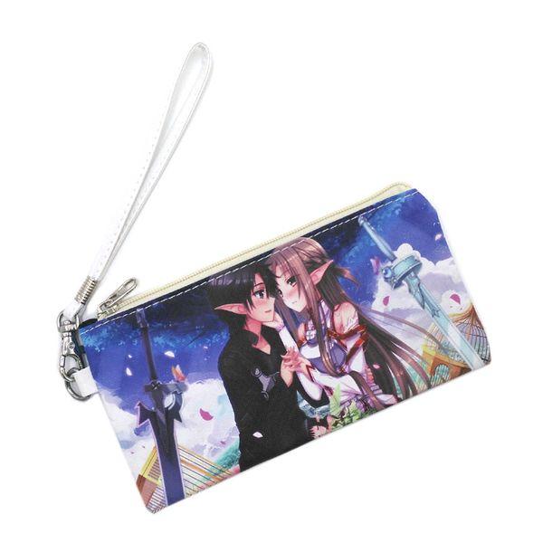 Hot Anime Sword Art Online bolsa de cuero con cremallera bolsa de maquillaje de moda estudiante titular de la pluma bolso para regalo bolsa de almacenamiento