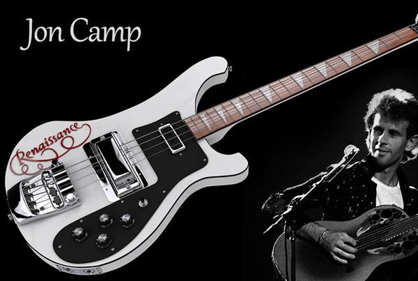 Personnalisé Jon Camp Renaissance RIC 4 cordes 4001 Blanc Basse Électrique Poupée Noire, Accastillage Chrome, Incrustation Pearloid Triangle Fingerboard