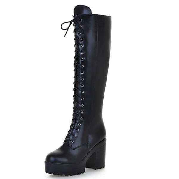 hot sale new arrive women boots fashion solid color ladies boots zipper lace up knee high boots big size