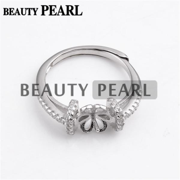 HOPEARL Jewelry 3 Pieces Zircons Pave Setting 925 Sterling Silver Pearl Ring Mounts for Wedding Bridal