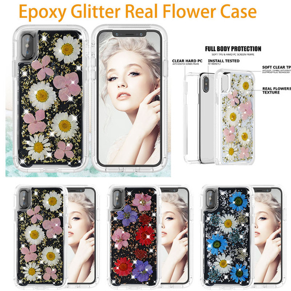 Epoxy Glitter Real Flower Case For iPhone X Xr Xs Max 8 7 6 6s Plus Plastic Rubber TPU Cover For Samsung S9 Plus Note 9 Rugged Hybrid Armor