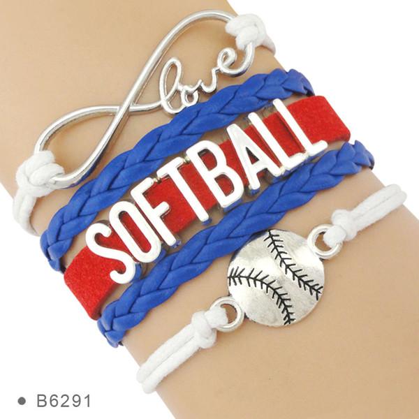 Infinity Love Softball Charm Wrap Sports Cadeau pour les fans de Softball Player Blanc Blanc Rouge Bracelets pour les femmes