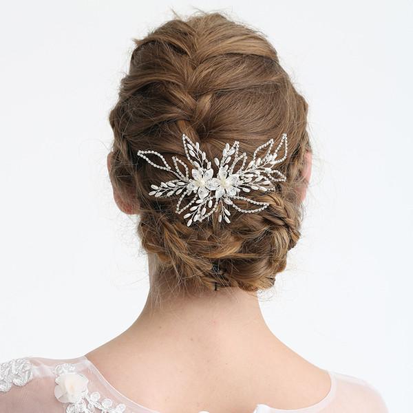 Silver Rhinestone Bridal Hair Comb Flower Headpiece Wedding Hair Accessories Women Hair Piece Jewelry Bride Oranment