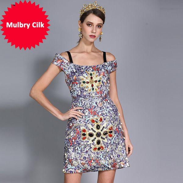2018 New Fashion Runway Designer Summer Dress Women's Luxury Crystal Diamonds Beading Printed Vintage Dress