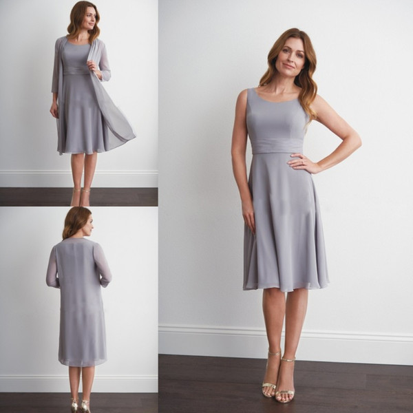 Grey Mother Of The Bride Dresses With Jacket Two Pieces Jewel Neck Chiffon Long Sleeve Mother's Gowns Formal Dress Evening Dress Plus Size