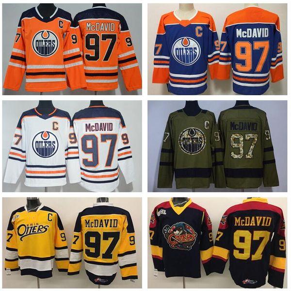 Edmonton Oilers Connor McDavid Jersey 97 Colégio Otters Premier OHL COA Uniformes De Hóquei No Gelo Laranja Branco Azul Preto Homem Mulher Crianças Juventude