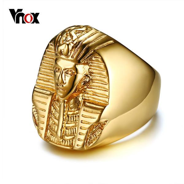 Vnox Pharaoh En forme de Bagues pour Hommes Ton Or En Acier Inoxydable Rock Punk L'Égypte Antique Mâle Bague Accessoires