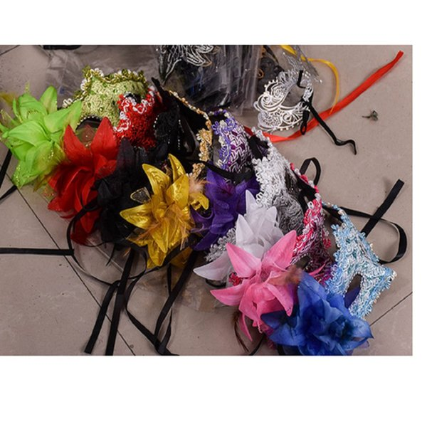10pcs/lot Venice lace Rhinestone sequins lilies Princess side flowers Halloween Dance Party feather mask