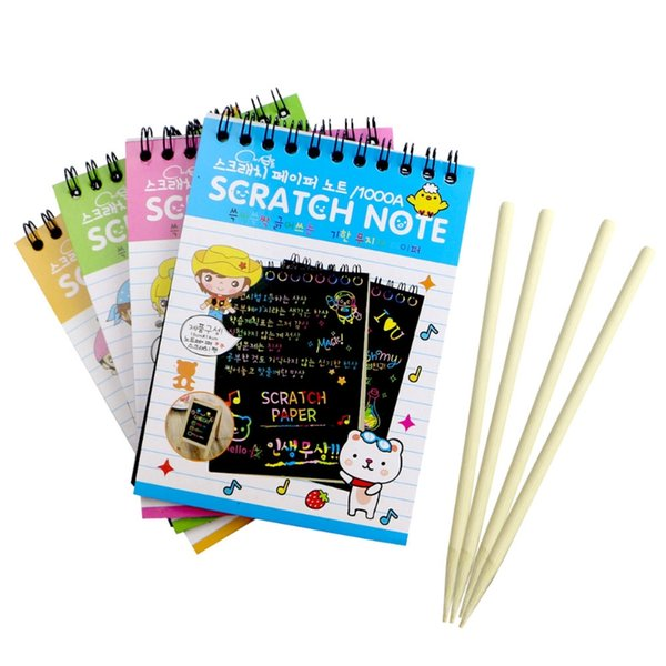 Scratch Note Black Cardboard Creative DIY Draw Sketch Notes for Kid Toy Notebook