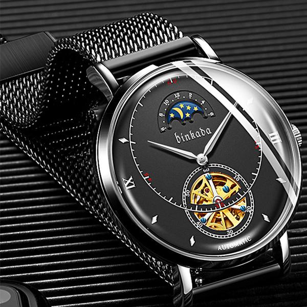 Relojes de hombre Reloj mecánico automático Reloj deportivo Reloj de malla Esqueleto informal de negocios Retro Relojes Hombre