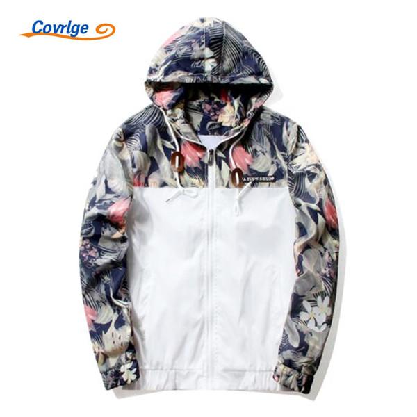 Covrlge Hombres Imprimir Chaquetas Con Capucha Nueva Primavera Otoño Chaqueta de Abrigo Fino Marca de ropa Hombre Casual Outwear Moda Top MWJ052