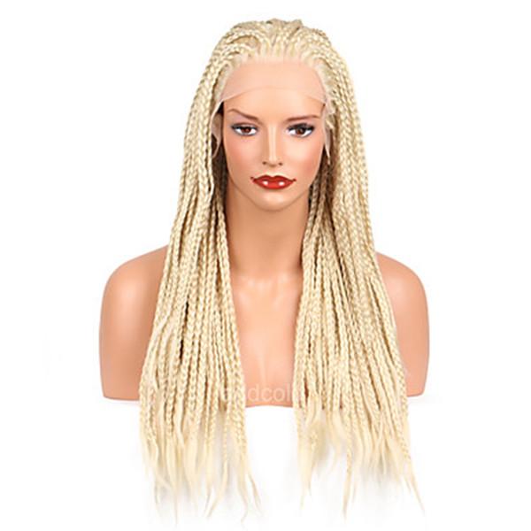 Spedizione gratuita # 613 micro treccia parrucca bionda platino parrucca anteriore in pizzo sintetico resistente al calore in fibra intrecciata scatola trecce parrucca per le donne bianche