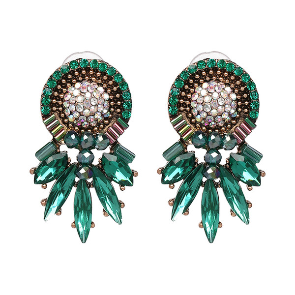 New Colors Charm Rhinestone Statement Earrings Bohemian Holiday Jewelry Shiny Cute Stud Earrings For Women Wedding Gifts