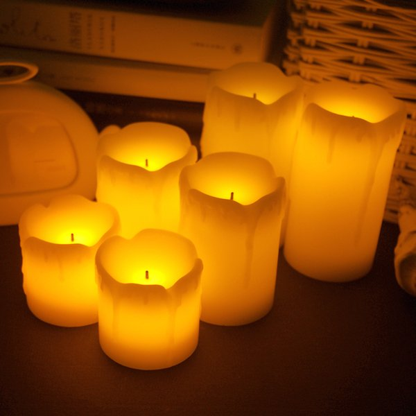 3pcs /Lot Flameless Electronic Led Candles Lamp Cylindrical Flickering Yellow Led Tea Light Wedding Party Decoration Gifts New