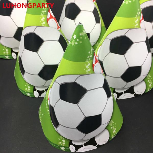 18 teile / los Cartoon Fußball Geburtstag Caps Mit Strings Kinder Jungen Party Hüte Jubeln Cartoon Party Supplies Dekoration Gefälligkeiten