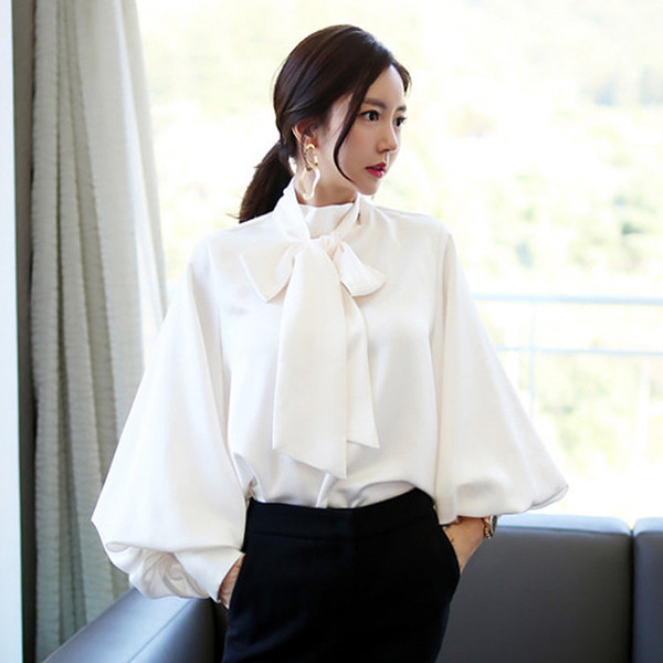 2018 Autumn Women blouse Fashion lantern sleeve Bow stand collar Chiffon Loose Female Blouses shirts Solid White Tops Clothing