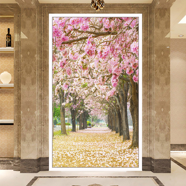 Diamonds Picture New Pattern A Living Room Fully-jewelled Cross Embroidery Romantic Cherry Blossoms Decoration Painting Hallway Paintings