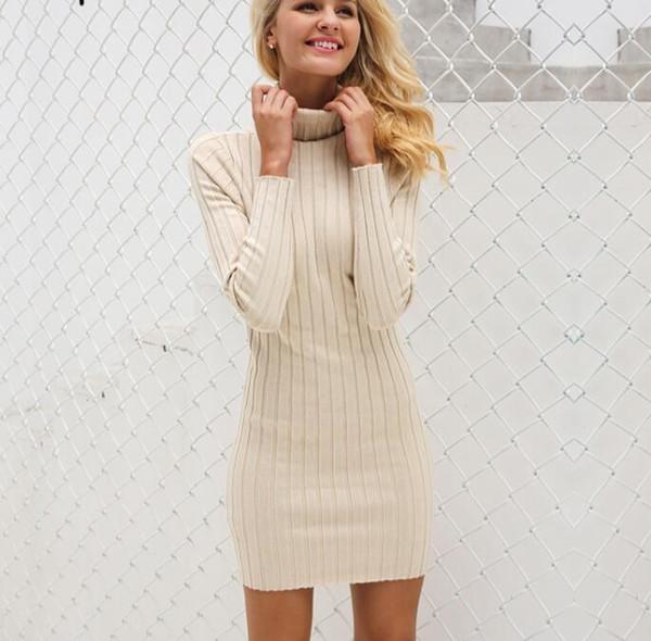 6f29b73fc214 Compre Jersey De Cuello Alto Suéter De Punto Largo Vestido De Mujer Algodón  Vestido De Bodycon Delgado Suéter De Otoño Vestido De Invierno A $52.27 ...