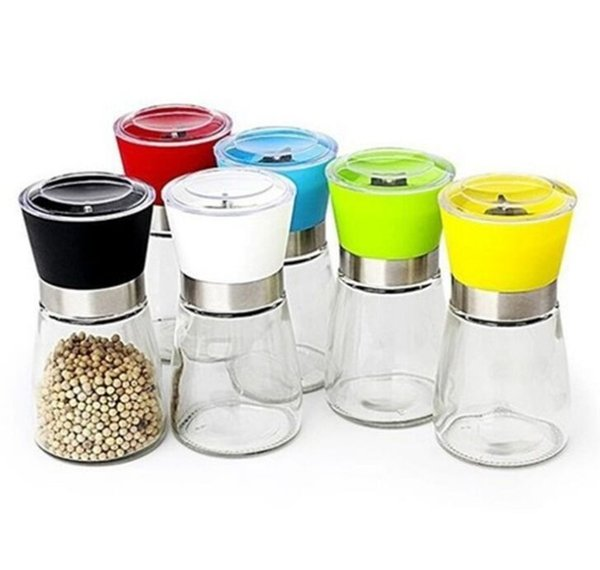 FREE SHIPPING High Quality Best selling Glass Pepper set Salt Herb Spice Hand Grinder Mill manual pepper mill
