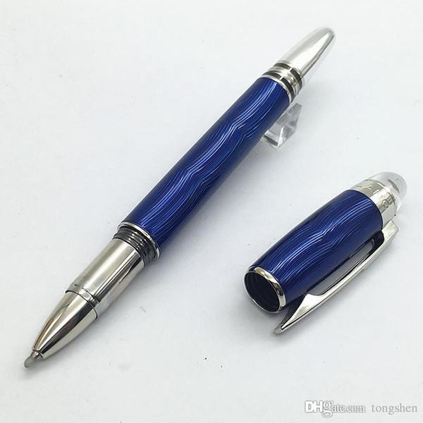 Ручка шарика ролика металла волны уникально конструкции MT голубая, роскошные канцелярские принадлежности офиса Шариковая ручка кристалл звезды