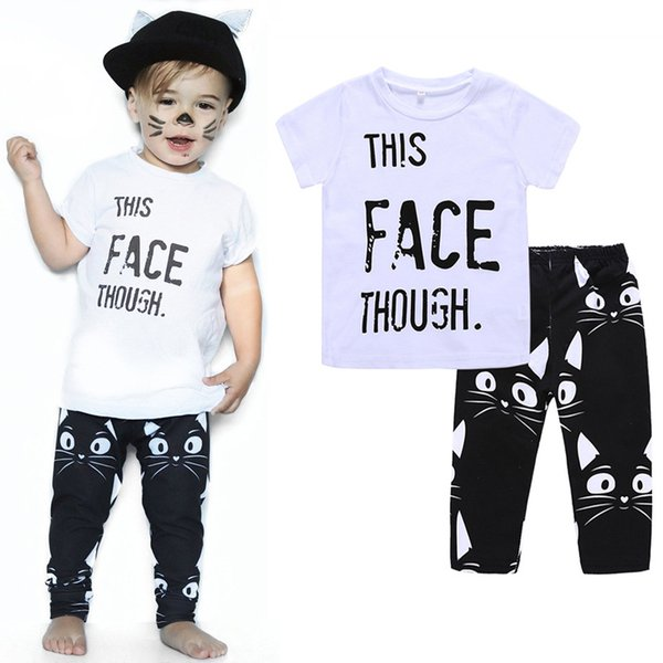 Baby boys Letter print outfits INS children top+Kitty face pants 2pcs/set 2018 Summer Cats suits kids Clothing Sets C4031