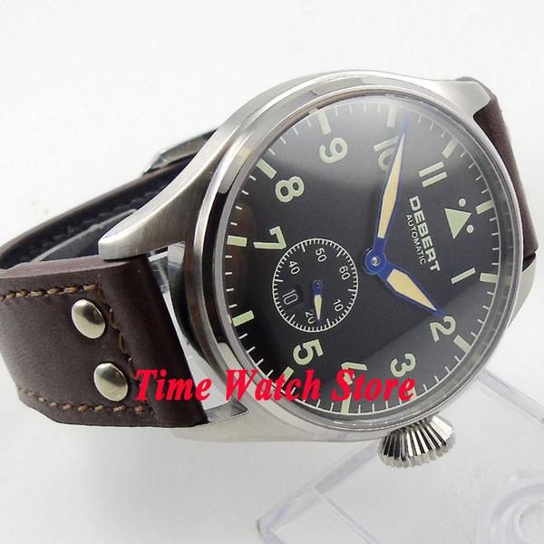 DEBERT 42mm black dial date window luminous sapphire glass 5ATM Automatic men's watch relogio masculino