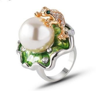 European and American export jewelry wholesale Lotus leaf frog shiny inlaid pearl ring
