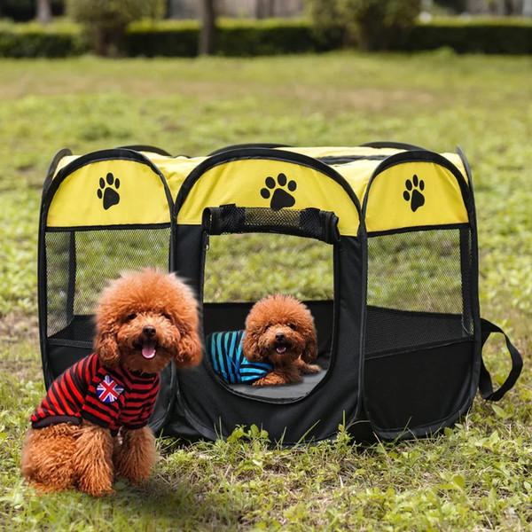 Carpa para mascotas plegable de 8 lados para perros Casa jaula Perro gato Tienda de campaña Parque infantil Perrito Perrera Fácil operación Cerca octogonal suministros para exteriores 1 unids