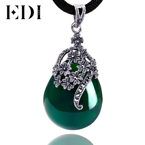 EDI Frauen Vintage Green Jade Schmuck 925 Sterling Thai Silber Chalcedon Achat Anhänger Halskette Drop Fashion Style DX467S