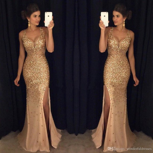 Gorgeous Sexy Gold Long Prom Dresses Rhinestone Side Slit Deep V Neck Plus Size Evening Dresses Formal Gowns