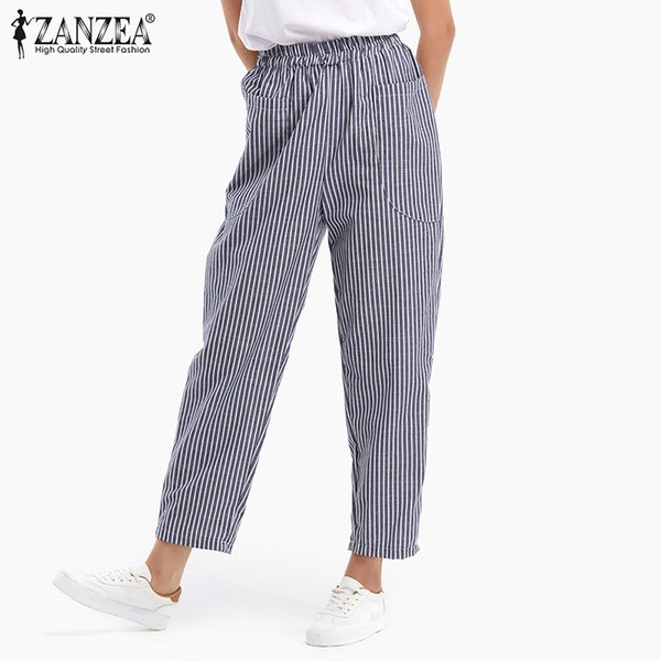 4a01dc3ee9 ZANZEA 2018 Primavera Verano Moda Mujer Cintura Elástica Pantalones A Rayas  Bolsillos Casuales Algodón Lino Pantalones