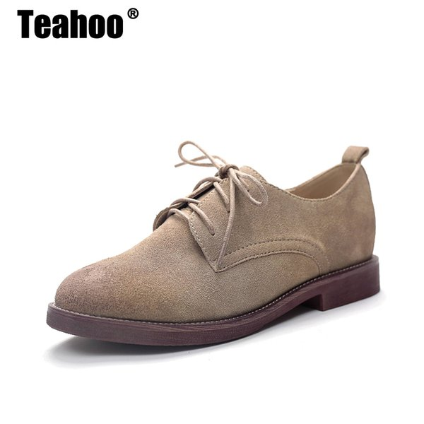 2019 Casual Teahoo Retro Oxford Shoes for Women 2018 Genuine Leather Shoes  Woman Lace up Oxfords Flat Shoes Women Plus Size 9 10 11 53ad12fd2dc