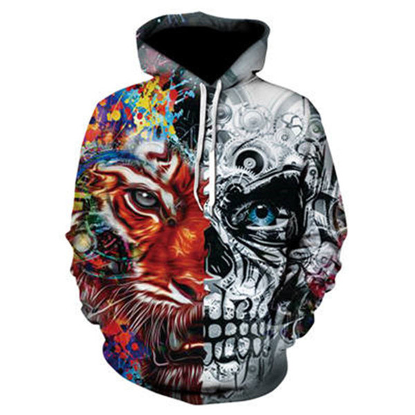 3D Hoodie Men's Melting Skull 3D Full Print Novelty Hooded Sweatshirt Fashion Pullover Sportswear Street Suit Harajuku Tops
