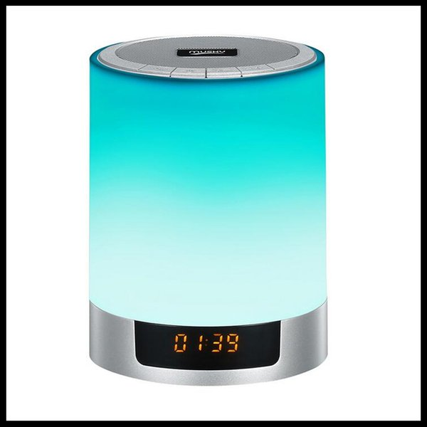 MUSKY Wireless Bluetooth Speakers 4.1 Plug-in Cards LED Colorful Touch Lights Clock Alarm Sound Box Subwoofer DHL Free