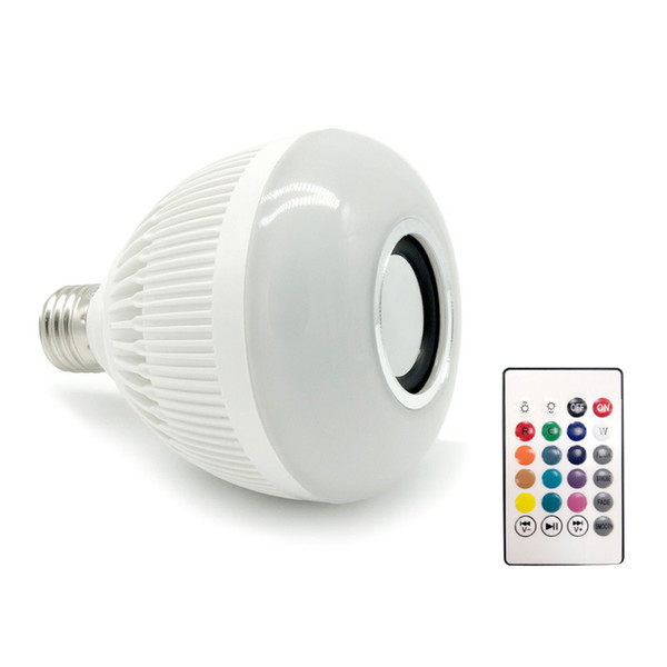 Best Quality E27 Smart Bulb Light Dimmable 12W RGBW Wireless Bluetooth Speaker Bulb Music Playing LED Light Lamp with 24 Keys Remote Control